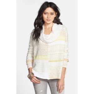 FREE PEOPLE Cowl Neck Pullover Patchwork Sweater